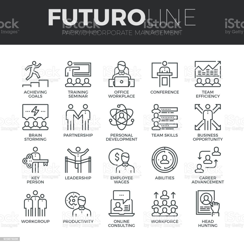 Corporate Management Futuro Line Icons Set vector art illustration