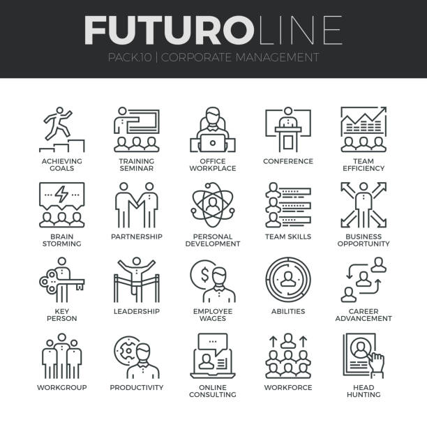 corporate management futuro line icons set - autorytet stock illustrations