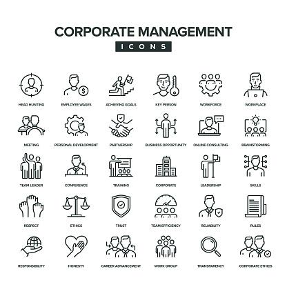 Corporate Management Line Icon Set