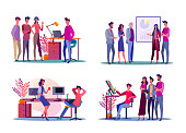 Corporate meeting illustration set. Colleagues discussing project, presenting chart, chatting. Communication concept. Vector illustration for topics like business, collaboration, partnership