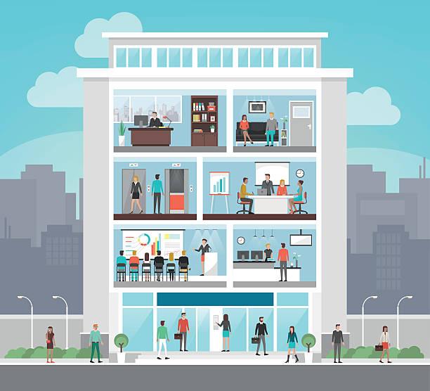 illustrazioni stock, clip art, cartoni animati e icone di tendenza di corporate office building - edificio adibito a uffici