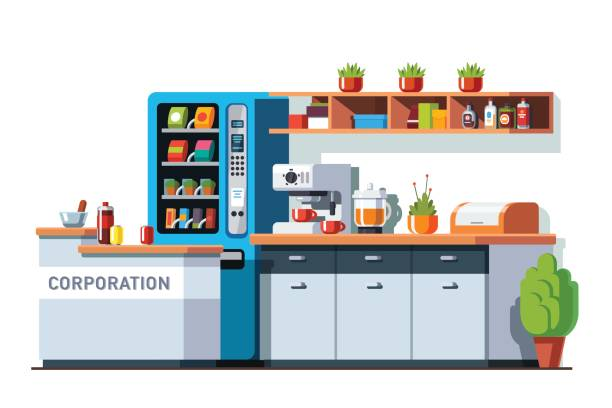 corporate office dining room and kitchen interior - empty vending machine stock illustrations