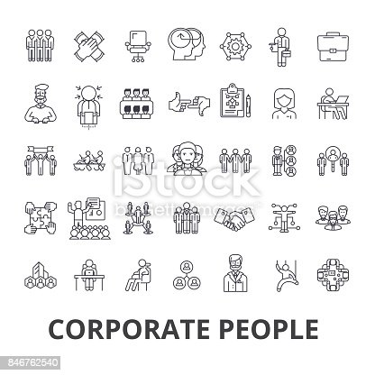 Corporate people, corporate identity, business, train, corporate event, office line icons. Editable strokes. Flat design vector illustration symbol concept. Linear signs isolated on white background