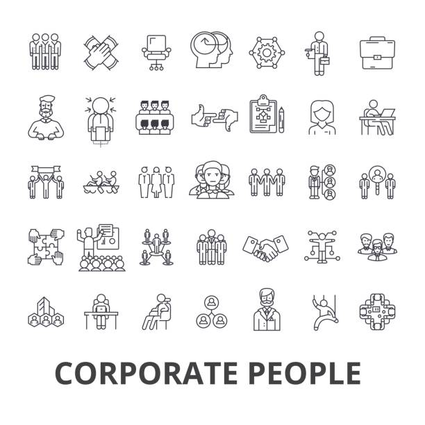 corporate people, corporate identity, business, train, corporate event, office line icons. editable strokes. flat design vector illustration symbol concept. linear signs isolated - business people stock illustrations, clip art, cartoons, & icons