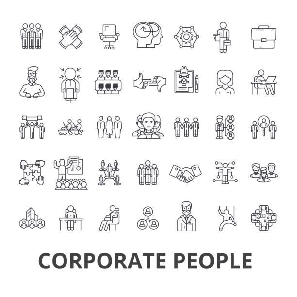 ilustrações, clipart, desenhos animados e ícones de pessoas corporativas, identidade corporativa, negócios, trem, evento corporativo, ícones de linha escritório. cursos editáveis. conceito de símbolo ilustração vetor design plano. sinais lineares isolados - pessoas de negócios
