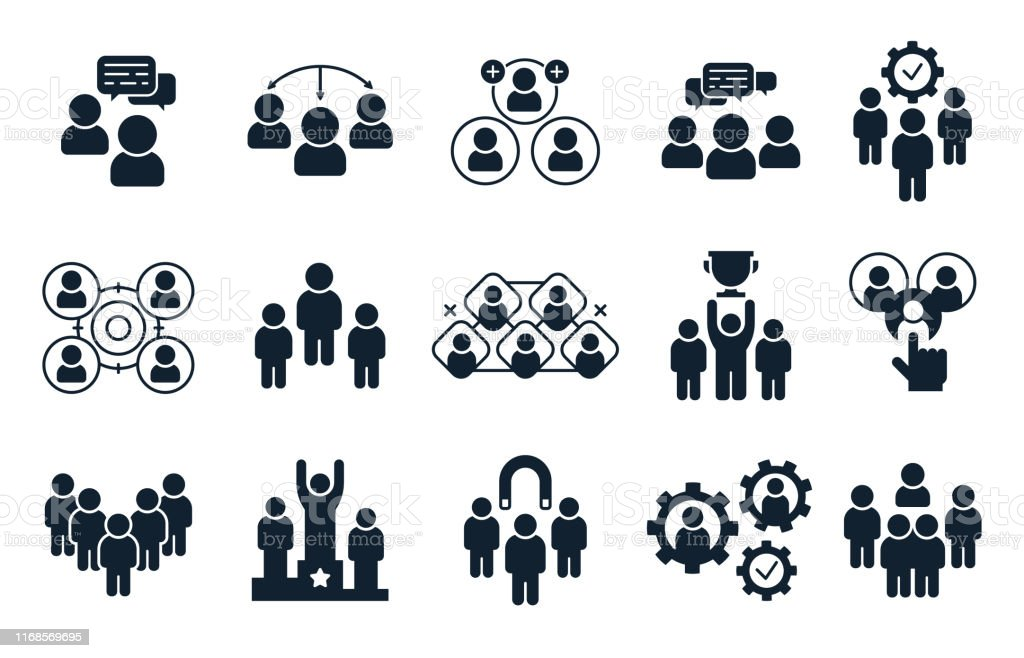 Corporate people icon. Group of persons, office teamwork pictogram...