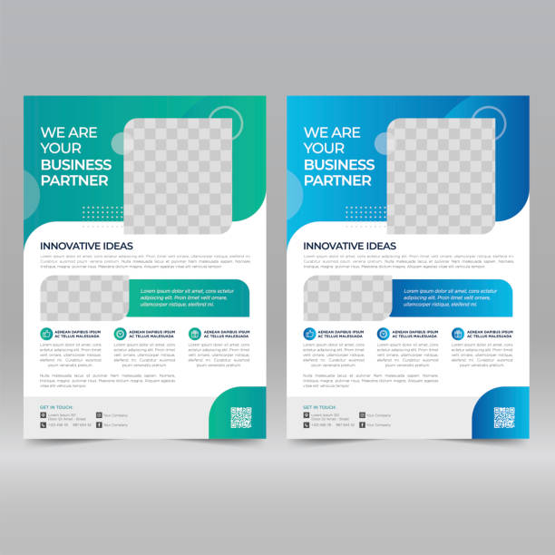 corporate poster, flyer design template - лекало stock illustrations