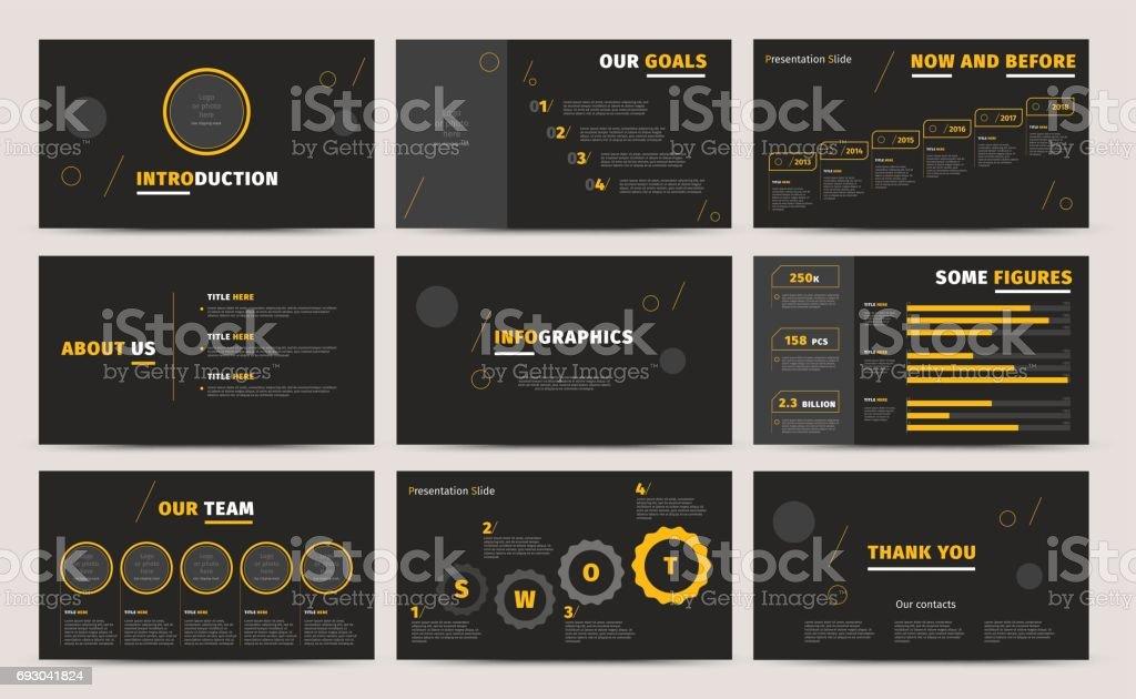 企業のプレゼンテーション スライドをデザインします。創造的なビジネス提案または年次報告書。フル HD ベクトル基調インフォ グラフィック テンプレート黒レイアウト。スタートアップ プロジェクトの広告パンフレット ベクターアートイラスト