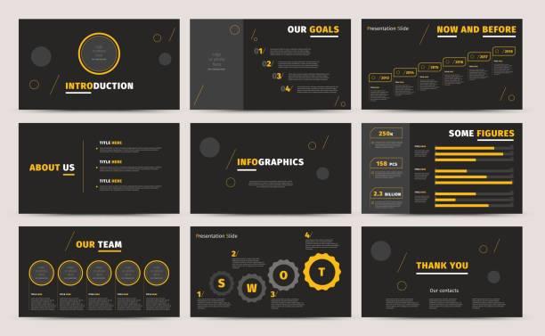 企業のプレゼンテーション スライドをデザインします。創造的なビジネス提案または年次報告書。フル hd ベクトル基調インフォ グラフィック テンプレート黒レイアウト。スタートアップ プロジェクトの広告パンフレット - 旅行代理店点のイラスト素材/クリップアート素材/マンガ素材/アイコン素材