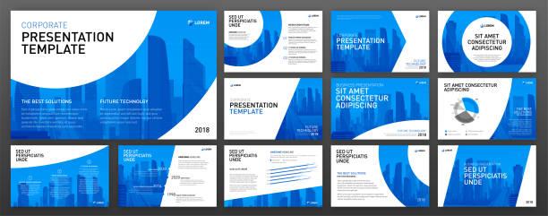 Corporate presentation templates set Business presentation design templates set. Use for presentation background, brochure design, website slider, corporate report. blue drawings stock illustrations