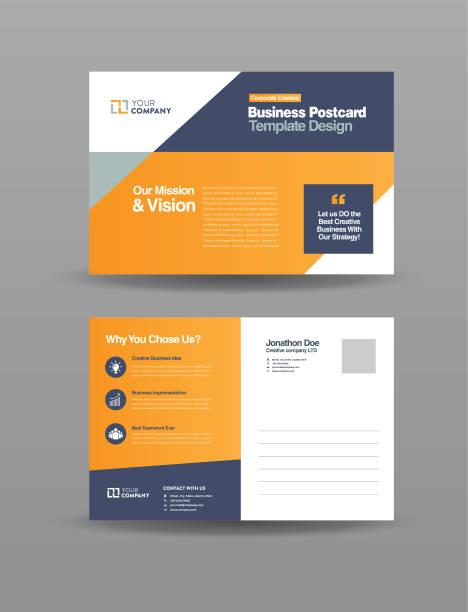 ilustrações de stock, clip art, desenhos animados e ícones de corporate professional business postcard design, event card design, direct mail eddm template, invitation design - modelos