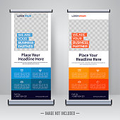 Corporate rollup or x banner design template vector illustration