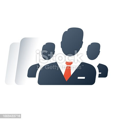 Corporate service, company top management, financial account, human resources, business mentor, training course, team work, vector flat icon