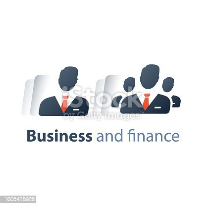 Corporate service, company top executive management, human resources, small and big business investor, share holder, CEO training course, team work, vector flat icon