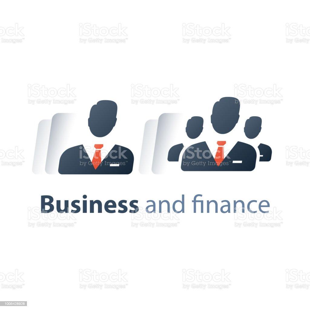 Service für Unternehmen, Unternehmen Top-Management, Kapitalbilanz, Business Mentors, Schulung, Teamarbeit – Vektorgrafik