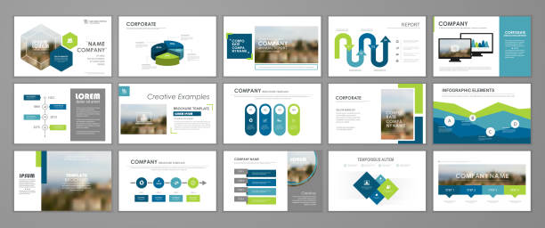 corporate slideshow templates - annual reports templates stock illustrations