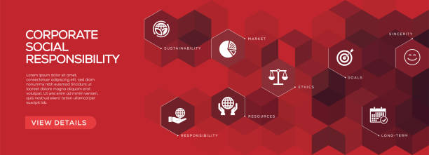 Corporate Social Responsibility Banner Design vector art illustration