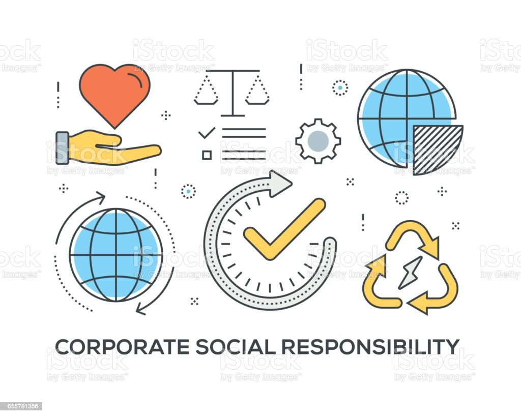 Corporate Social Responsibility Concept with icons vector art illustration