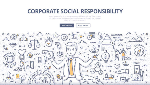 Corporate Social Responsibility Doodle Concept Corporate social responsibility concept. Businessman balances holding money in one hand and tree in another. He takes responsibility for the social and environmental impacts of his business operations. CSR. Sustainable development. Doodle illustration for web banners, hero images, printed materials corporate responsibility stock illustrations