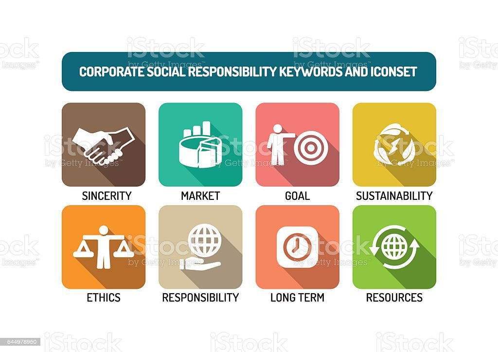 Corporate Social Responsibility Flat Icon Set vector art illustration