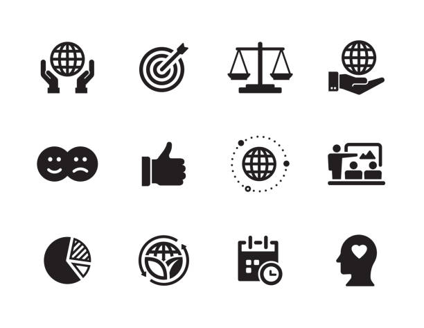 corporate social responsibility icon set - wine stock illustrations