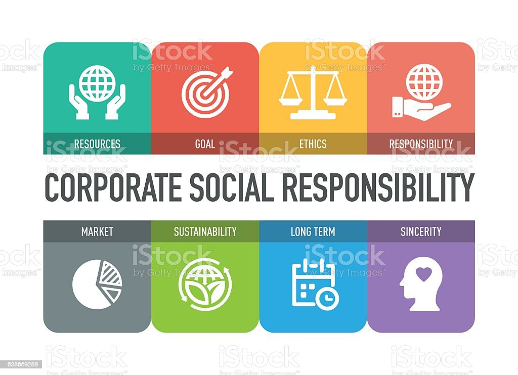 Corporate Social Responsibility Icon Set vector art illustration