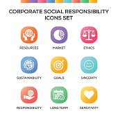 Corporate Social Responsibility Icons Set on Gradient Background