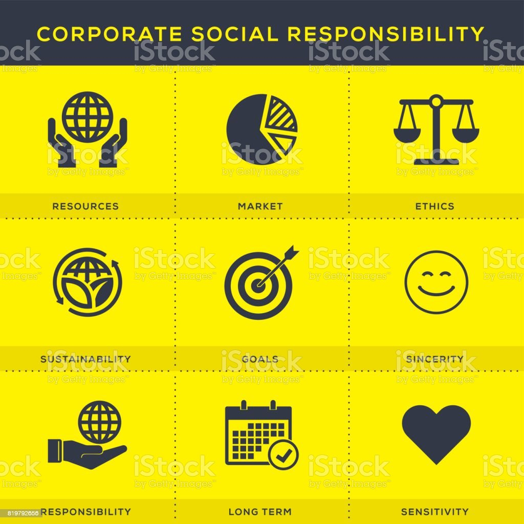 Corporate Social Responsibility Icons Set vector art illustration