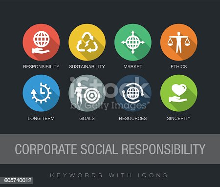 Corporate Social Responsibility chart with keywords and icons. Flat design with long shadows