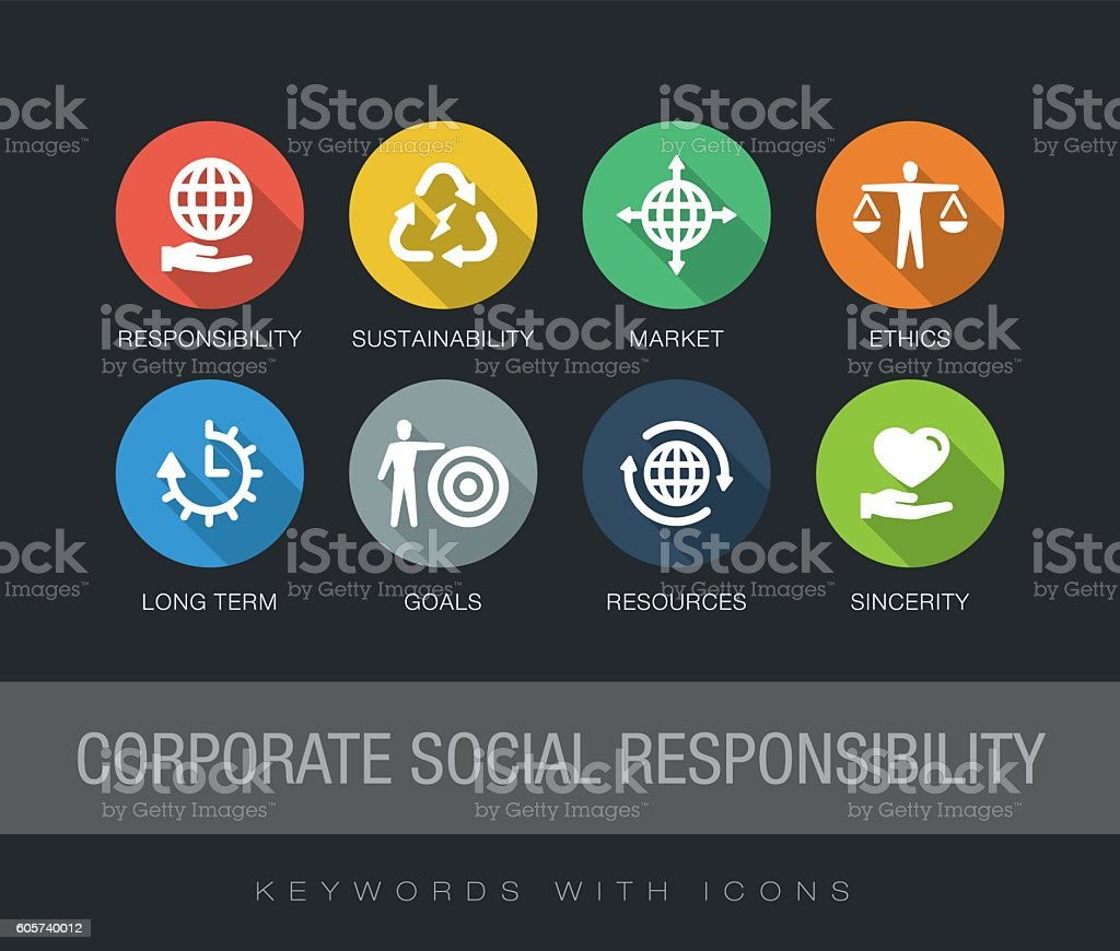 Corporate Social Responsibility keywords with icons vector art illustration