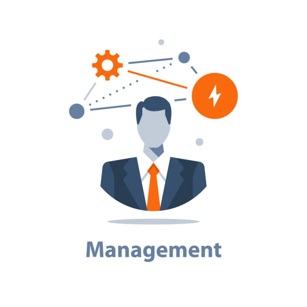 illustrations, cliparts, dessins animés et icônes de concept de solution d'entreprise, gestion d'entreprise, stratégie couronnée de succès, possibilité de carrière, chef de projet, chef de la direction de l'entreprise - chef de projet