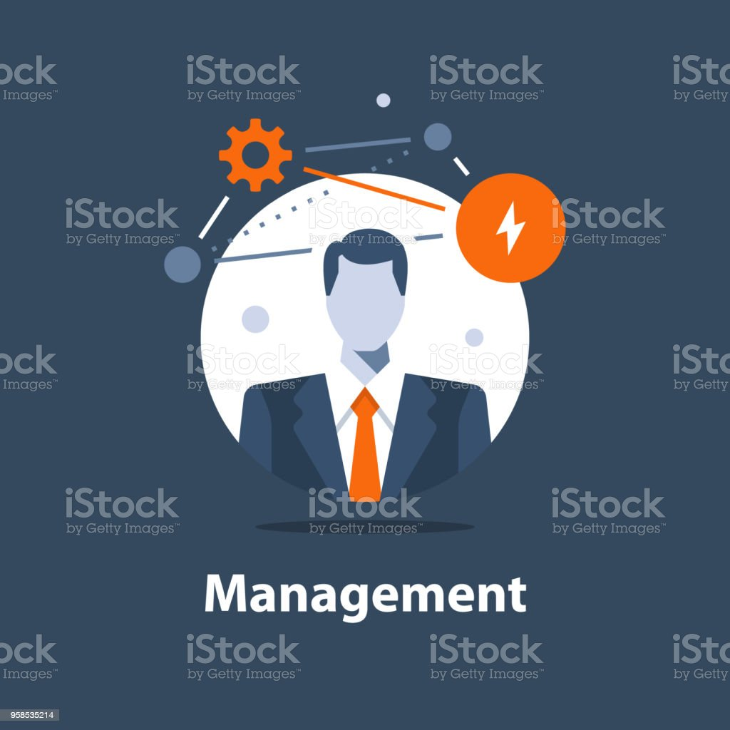 Corporate solution concept, business management, successful strategy, career opportunity, project manager, company ceo vector art illustration