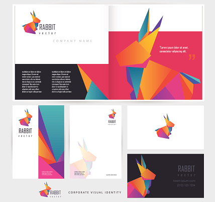 corporate stationery set template mockups with multicolored polygonal rabbit element