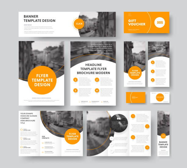 styl korporacyjny z okrągłymi i półokrągłymi pomarańczowymi elementami projektowymi i obrysem, z miejscem do zdjęć. - broszura stock illustrations