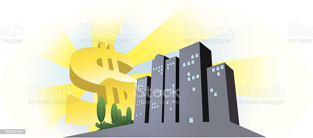 corporate sunrise a new day another dollar royalty-free stock vector art