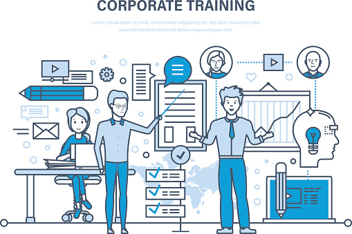 Corporate training, education, learning. Teaching on lesson. Conference, presentation