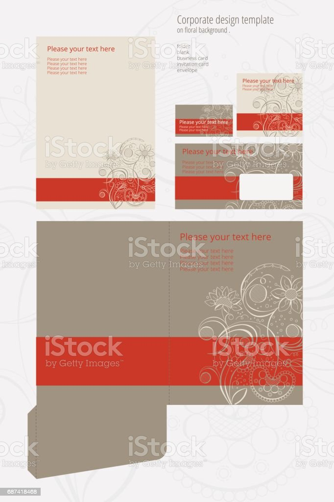Corporate vector design template on floral background vector art illustration