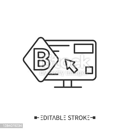 Corporate website icon. Webpage with corporate logo, content and cursor.Landing page for advertising product. Representation of brand on Internet concept. Isolated vector illustration.Editable stroke