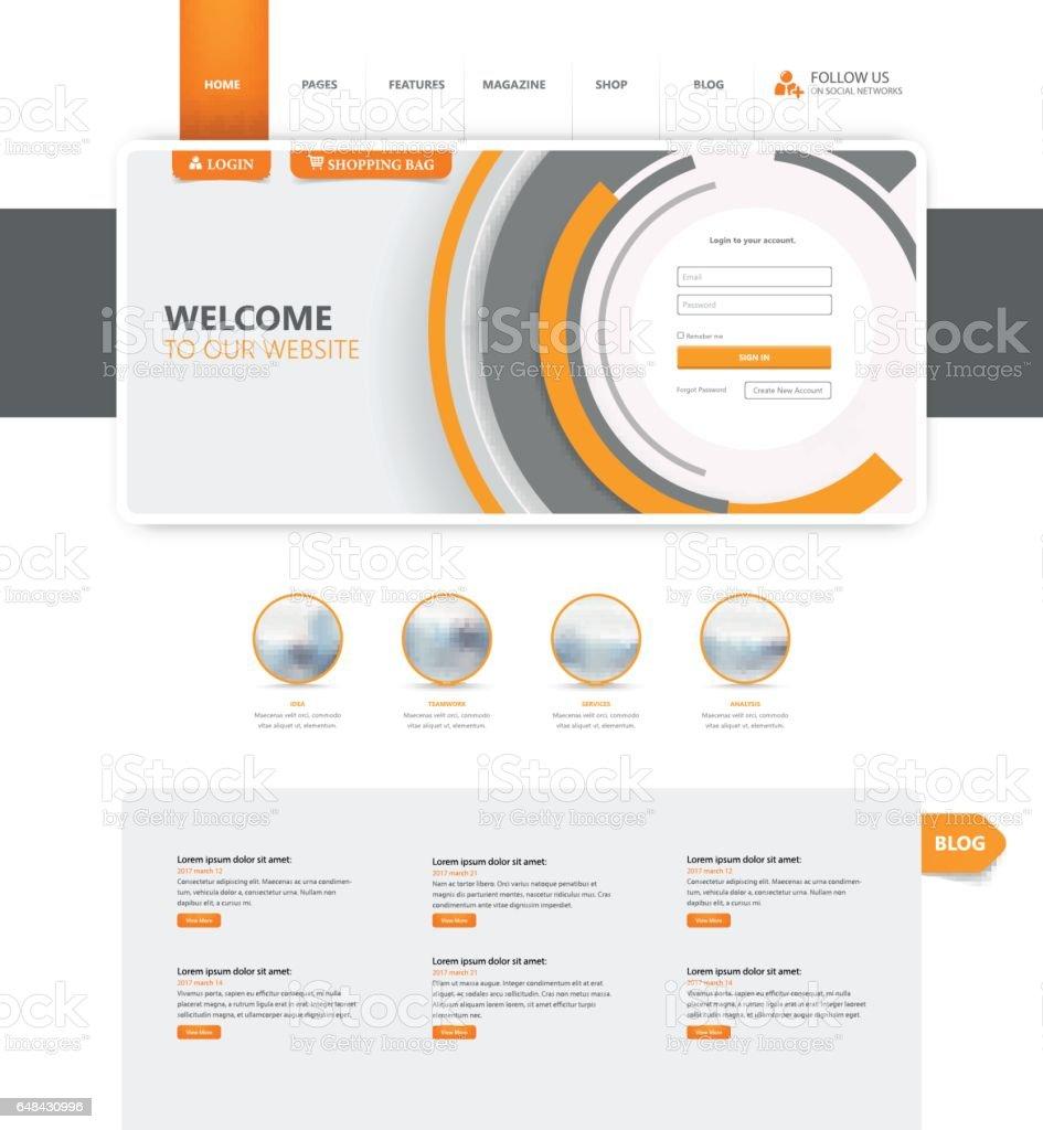 Corporate Website Template In Vector Format. - illustrazione arte vettoriale