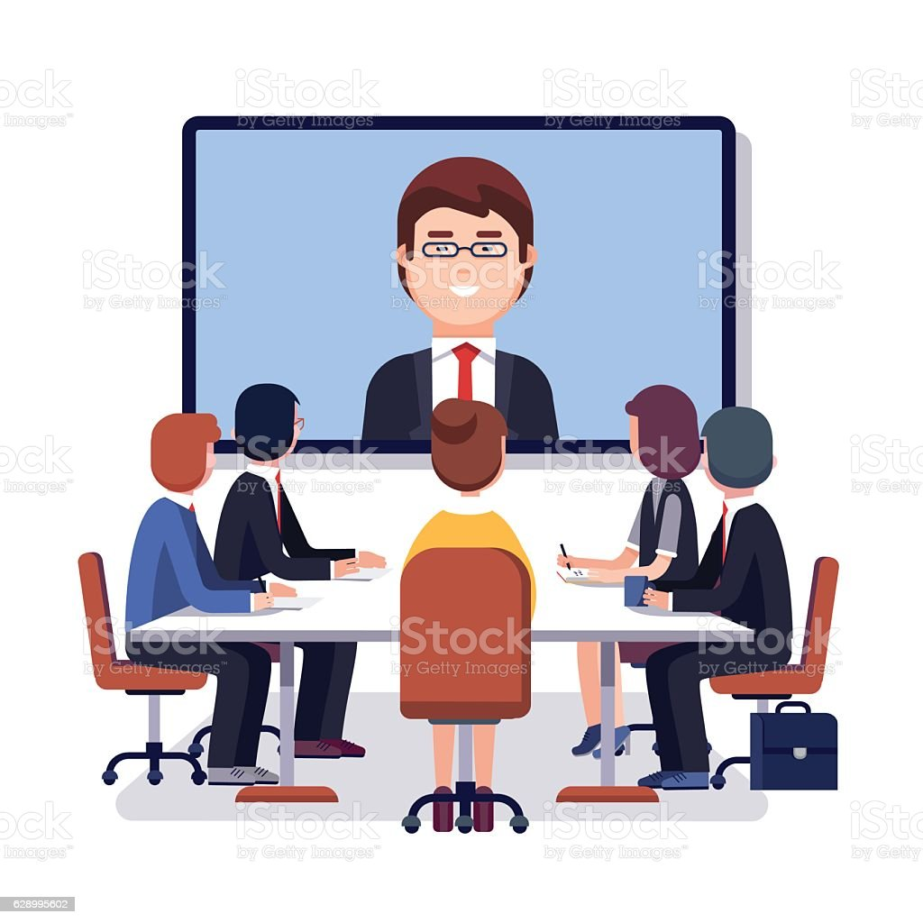 Corporation directors board at the conference call - Royalty-free A usar um telefone arte vetorial