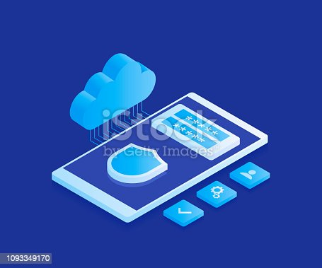 Corporation public data storaging, access for file who storage on remote cloud server concept, modern server room, smartphone with cloud icon and registration form. Modern vector illustration in isometric style.