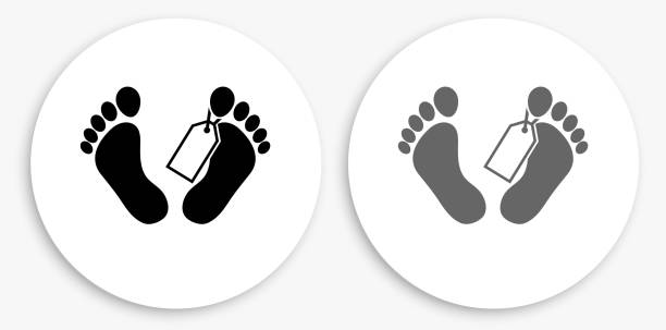 Corpse Tag Black and White Round Icon vector art illustration