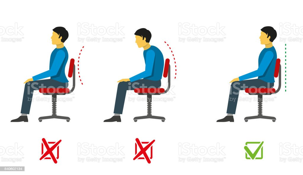 Correct and bad sitting position. Vector medical infographics vector art illustration