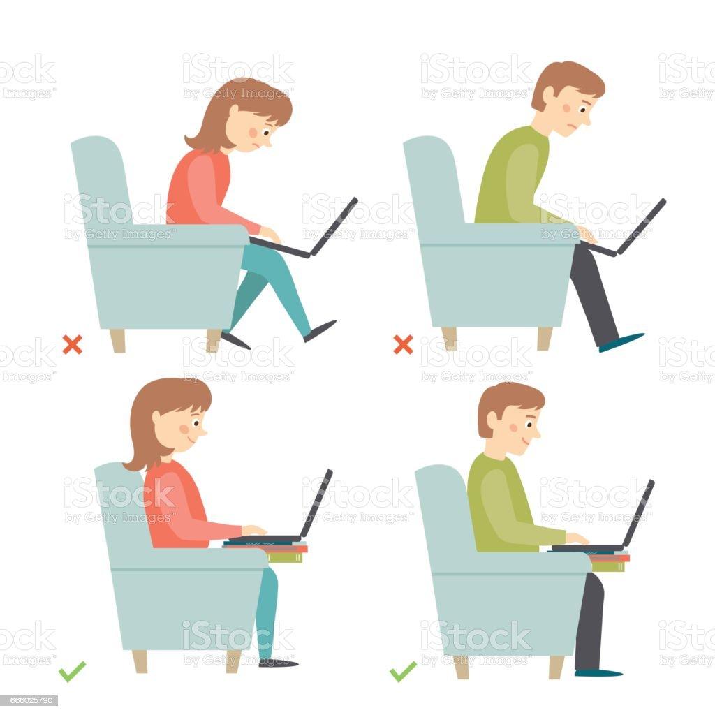 imagenes de posturas correctas y posturas incorrectas en el trabajo