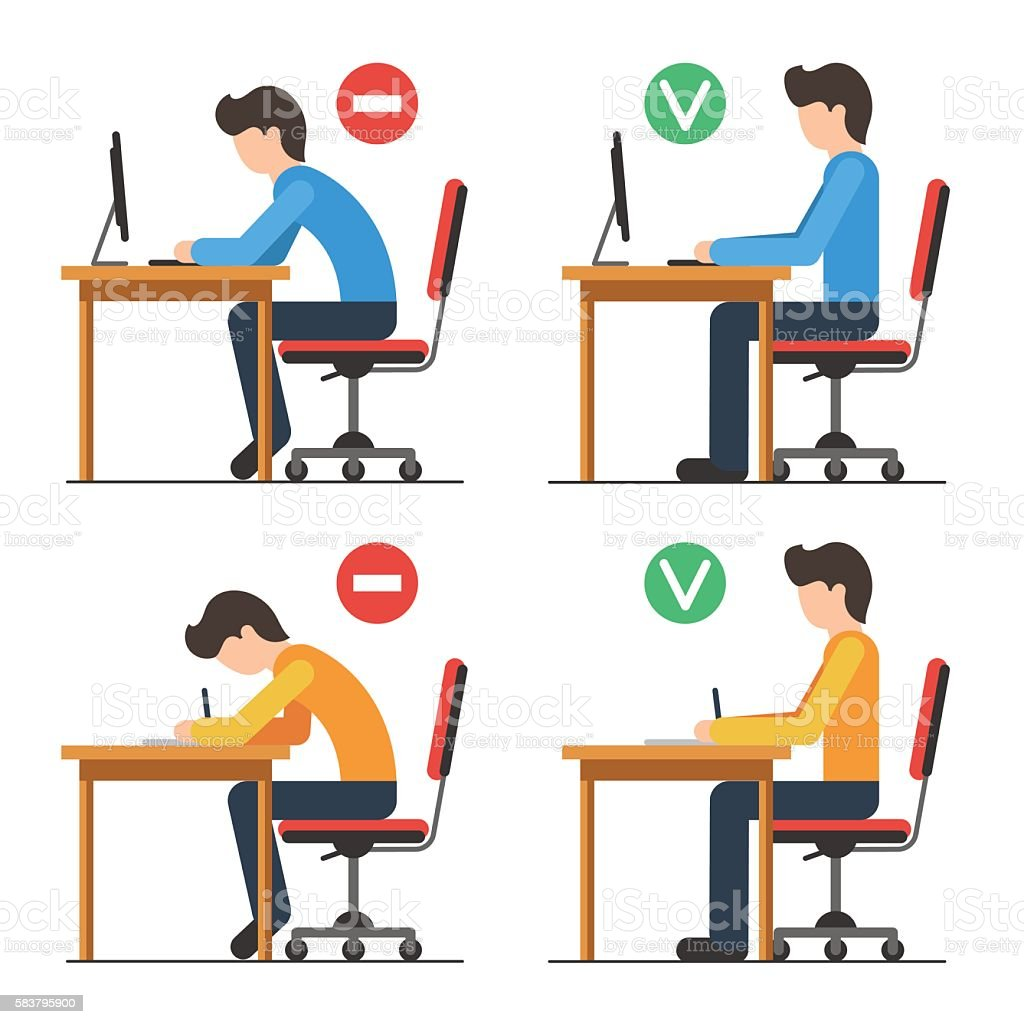 Correct and Incorrect back sitting position vector art illustration