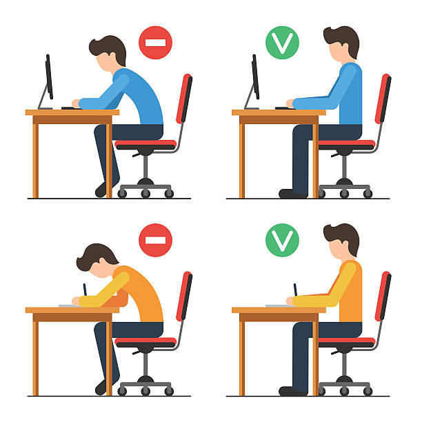 Correct and Incorrect back sitting position Correct and Incorrect back sitting position. Good and bad position spin. Vector illustration in flat style isolated for white background posture stock illustrations