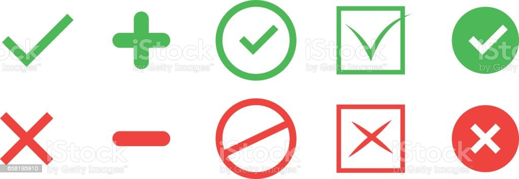 Correct and incorrect icons. True and false signs. Vector vector art illustration