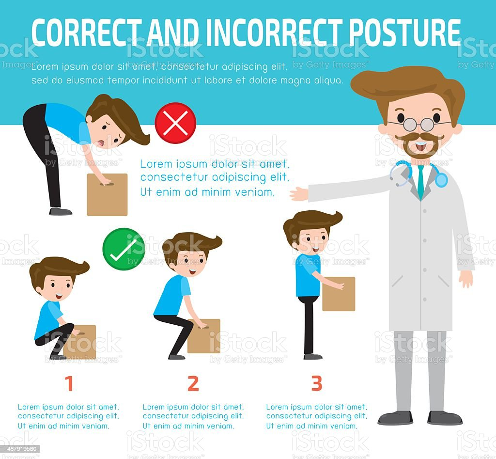 correct and incorrect posture, health care concept. vector art illustration