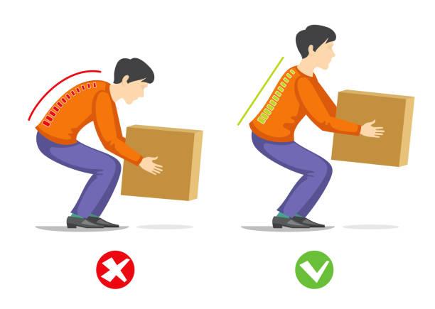illustrazioni stock, clip art, cartoni animati e icone di tendenza di correct and wrong technique to lift heavy object. healthcare vector - portare