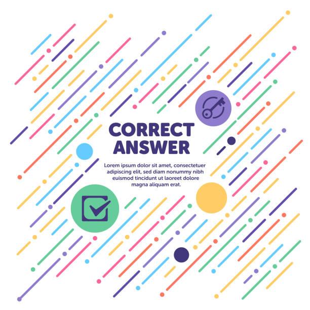 richtige antwort banner - schlüsselfertig stock-grafiken, -clipart, -cartoons und -symbole
